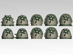 Tainted Spiked Shoulder Pads x10 in Smooth Fine Detail Plastic