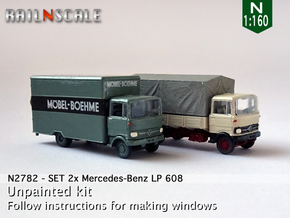 SET 2x Mercedes-Benz LP 608 (N 1:160) in Smooth Fine Detail Plastic