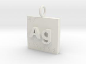Silver Element Pendant in White Natural Versatile Plastic