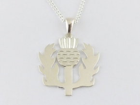 Scottish Thistle Pendant in Polished Silver