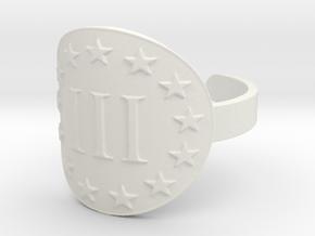 AP III% 3 Percenter Ring Size 7 in White Natural Versatile Plastic