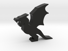 Game Piece, Wyvern, Flapping Wings in Black Natural Versatile Plastic