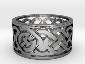 Celtic Knot Ring in Fine Detail Polished Silver