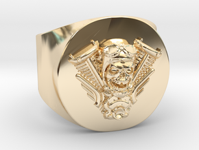 Harley engine Ring  in 14k Gold Plated Brass: 11 / 64