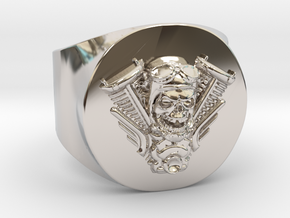 Harley engine Ring  in Rhodium Plated Brass: 11 / 64