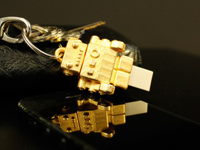 "Gold USB Robot Drive, ""Bling Bob"" in Polished Gold Steel"