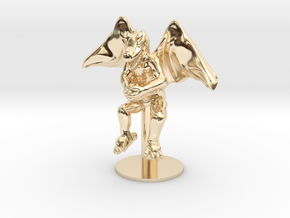Flying Winged Kobold with Rock in 14K Yellow Gold