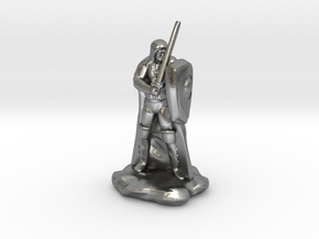 Human Ranger with Sword and Shield in Natural Silver