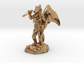 Winged Kobold with Dagger And Rock in Polished Brass