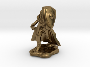 Human Paladin in Plate with Sword and Shield in Natural Bronze