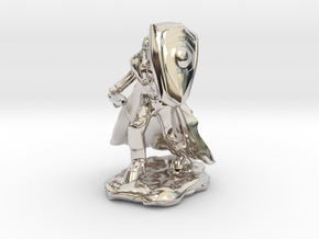 Human Paladin in Plate with Sword and Shield in Rhodium Plated Brass