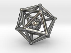 Icosahedron jingle bell pendant in Polished Silver (Interlocking Parts)