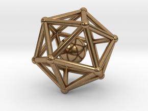 Icosahedron jingle bell pendant in Interlocking Raw Brass