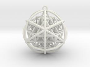 "Planetary Merkaba w/ nested FOL 64 Tetrahedron 2"" in White Natural Versatile Plastic"