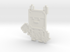 Pixel Thor Keychain in White Strong & Flexible