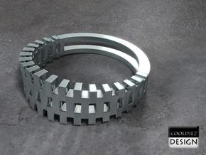 Ring - Grid1 in Polished Bronzed Silver Steel