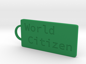 World Citizen Keychain in Green Strong & Flexible Polished