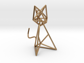 Wireframe Cat in Polished Brass (Interlocking Parts)