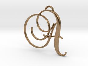 Elegant Script Monogram A Pendant Charm in Natural Brass