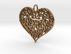 Beautiful Romantic Lace Heart Pendant Charm in Natural Brass