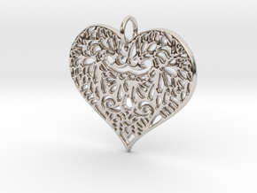 Beautiful Romantic Lace Heart Pendant Charm in Rhodium Plated Brass