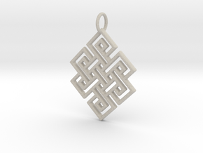 Endless Knot Religious Pendant Charm in Natural Sandstone