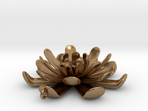 Water Lily Pendant in Natural Brass