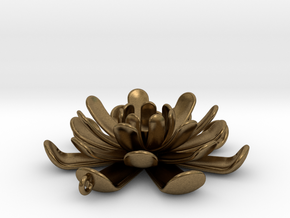 Water Lily Pendant in Natural Bronze