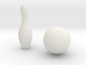 1:6 Bowling Pin And Ball in White Natural Versatile Plastic