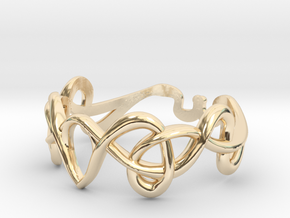 Art nouveau ring  in 14k Gold Plated Brass: 7 / 54