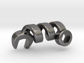 Twisted Wrench in Polished Nickel Steel