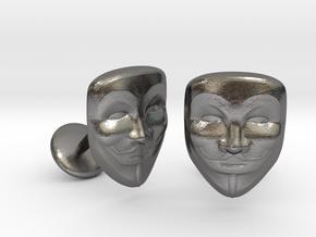 Vendetta Mask Cufflinks in Polished Nickel Steel