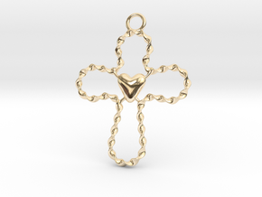 Spiral Cross in 14K Yellow Gold