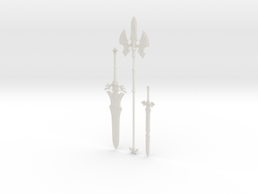 """BotW"" Royal Weapons Set in White Natural Versatile Plastic: 1:12"