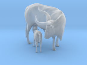 Ankole-Watusi 1:9 Mother and Calf in Smooth Fine Detail Plastic