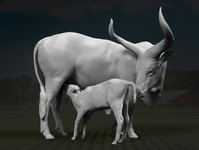 Ankole-Watusi 1:9 Mother and Calf in White Strong & Flexible