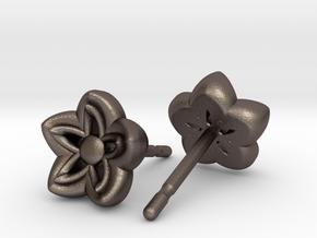 Kanzashi Earrings in Polished Bronzed Silver Steel