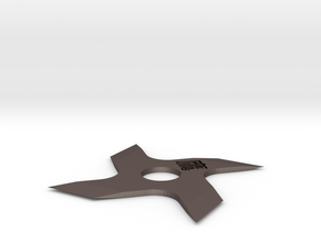 4 Side Shuriken (Version 3) in Polished Bronzed Silver Steel