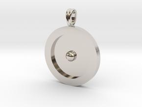 Circumpunct Dot Circle symbolic Jewelry Pendant in Platinum