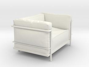 Miniature LC3 Poltrona - Le Corbusier in White Natural Versatile Plastic: 1:12