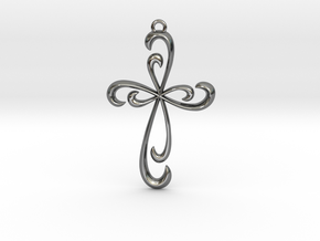 Cross Pendant in Fine Detail Polished Silver
