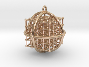 4x4x4 Medicine Cube pendant 34mm v.2 in 14k Rose Gold Plated Brass