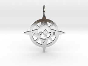 Compass and Mountains Pendant in Polished Silver