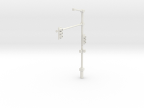 Traffic Light Signal Pole Assembled 1-87 HO Scale in White Natural Versatile Plastic