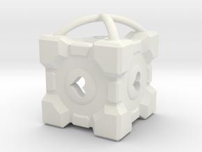 """1"""" Portal Companion Cube Pendant in White Natural Versatile Plastic"""