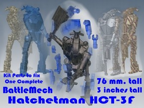 3 inch BattleMech Hatchetman in Parts in Smooth Fine Detail Plastic