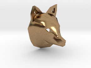 Low Poly Fox Pendant in Natural Brass