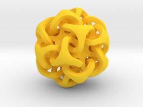 Interlocking Ball based on Icosahedron in Yellow Processed Versatile Plastic