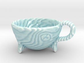 Wooden Teacup in Gloss Celadon Green Porcelain