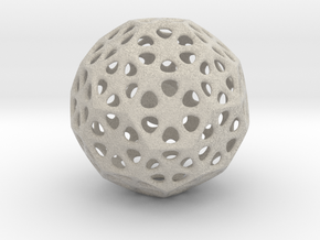 Mystic Icosahedron, Enclosing Small Solid Sphere in Natural Sandstone